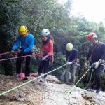 日和田山の岩場で岩訓Ⅰ
