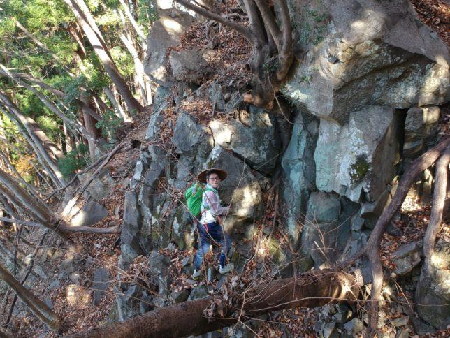上の岩場を登ります