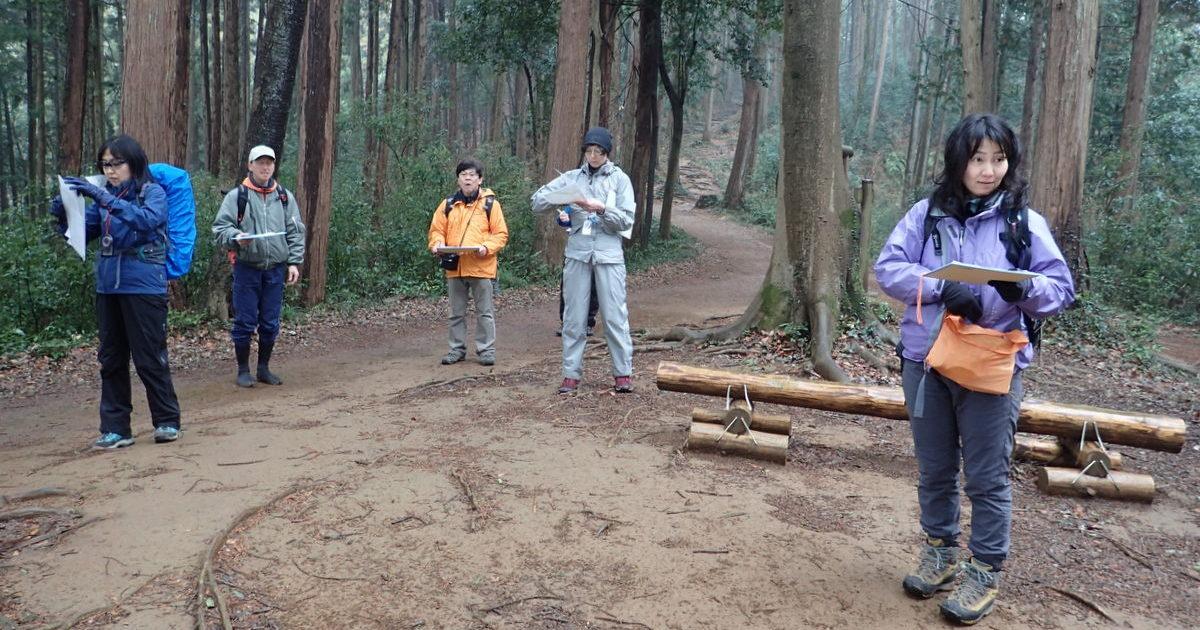 雨の天覧山でナビゲーションの特訓をしました