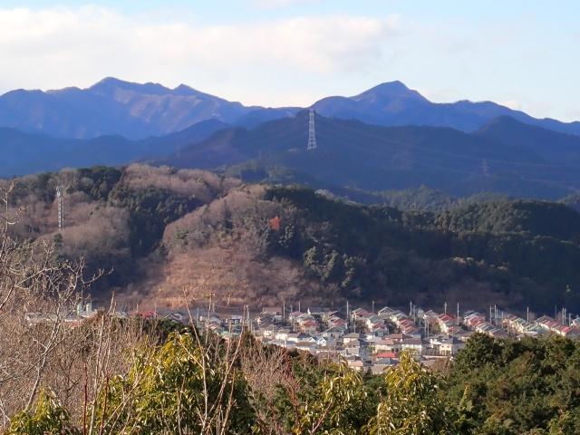 これから向かう奥武蔵の山々と武甲山
